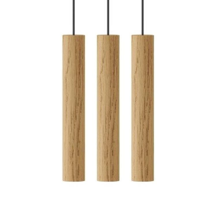 CHIMES 3 naturel Suspension LED 3 lumières Chêne H22cm