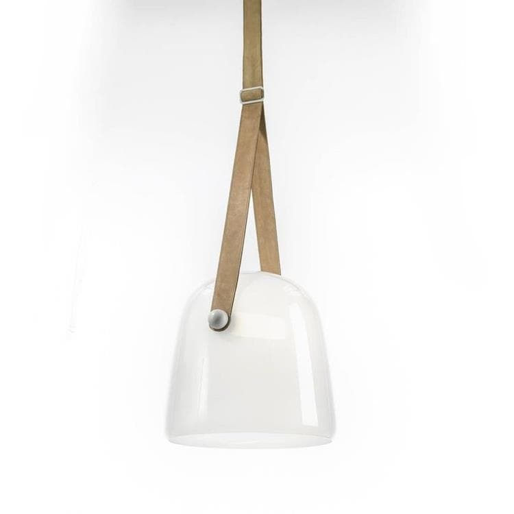 MONA blanc cuir naturel Suspension LED Cuir & Verre Ø27cm