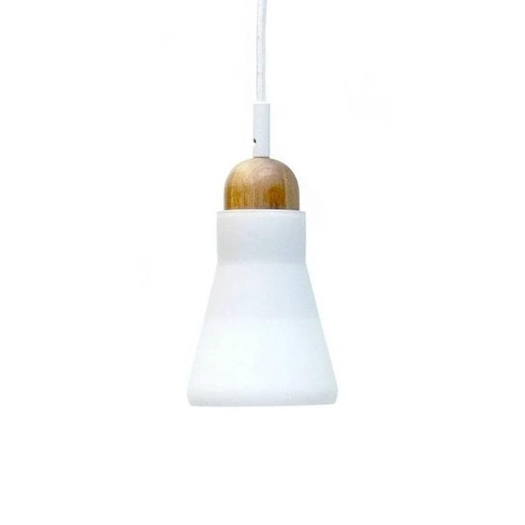 SHADOWS Blanc Suspension Verre & Bois Chêne naturel Ø10,8cm