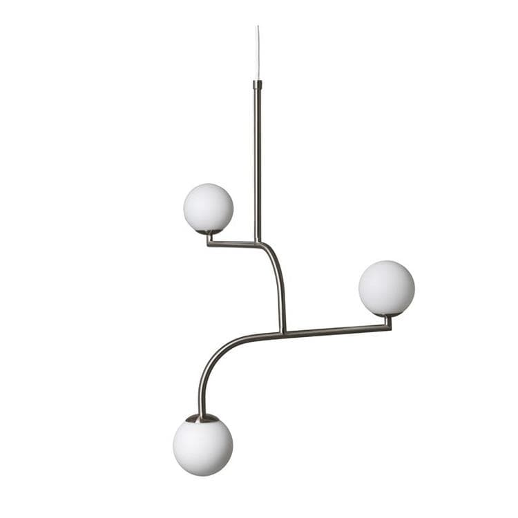 MOBIL nickel Suspension Métal/Verre 3 lumières H70cm