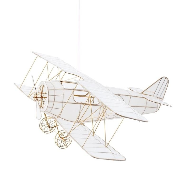 AVION Blanc Suspension en Bambou et Soie L65cm