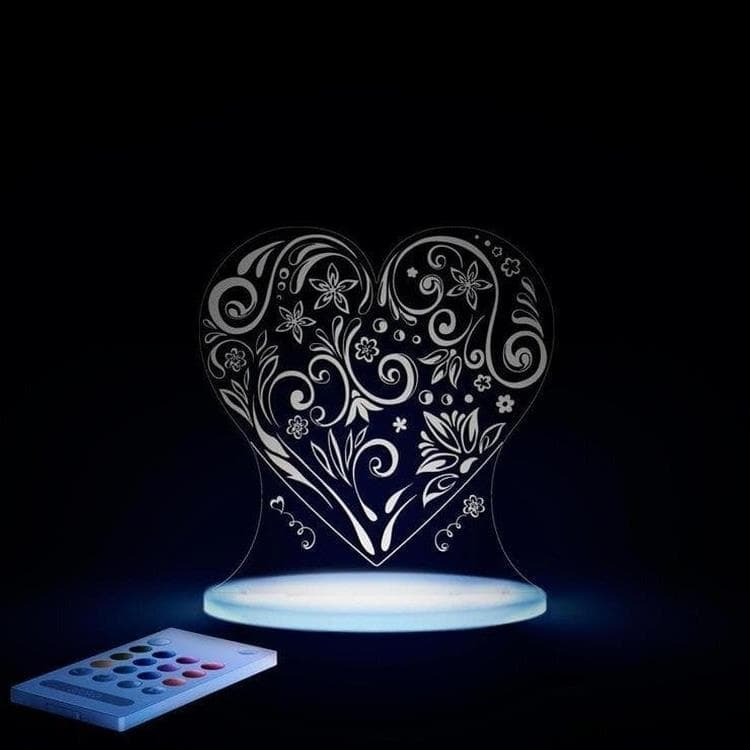 CŒUR Transparent Lampe-veilleuse LED H17cm
