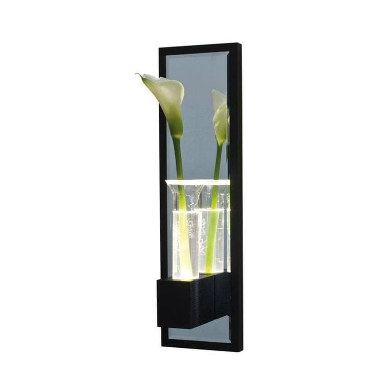 LALA wengé Applique Soliflore Miroir LED H60cm