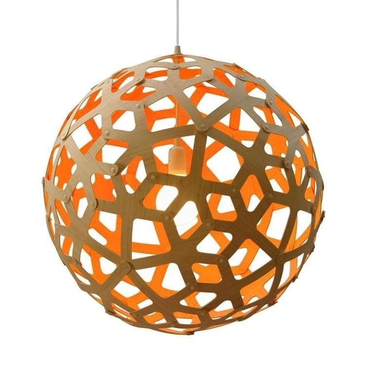 CORAL Orange Suspension Bicolore Bois Naturel Ø100cm