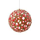 David Trubridge CORAL - Suspension Bois Naturel/Rouge Ø40cm