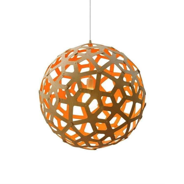 CORAL Orange Suspension Bicolore Bois Naturel Ø40cm