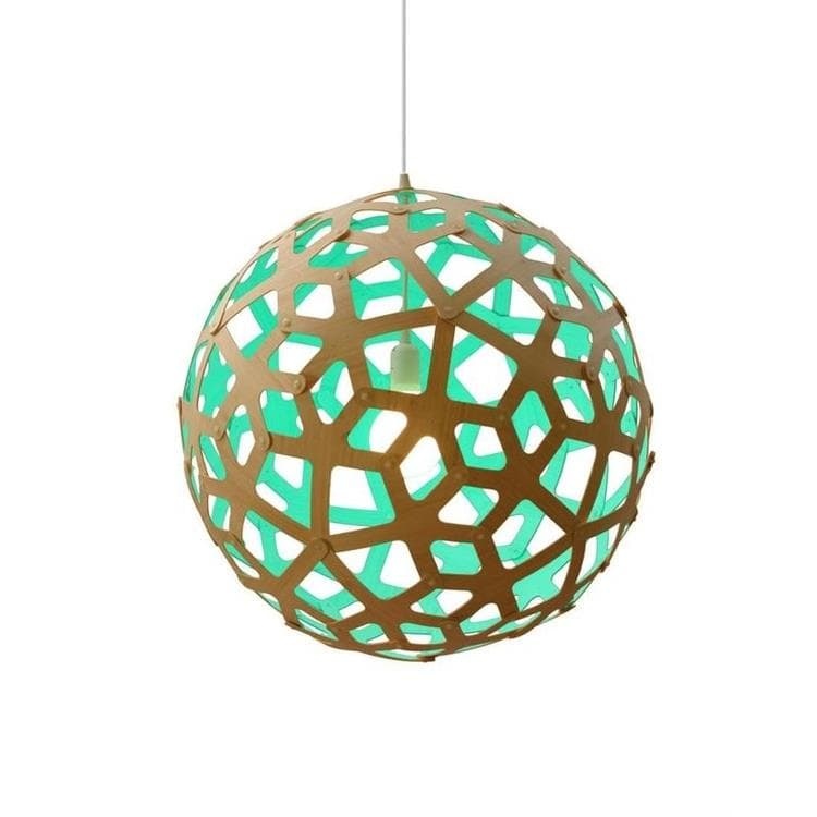 CORAL turquoise Suspension Bicolore Bois Naturel Ø40cm