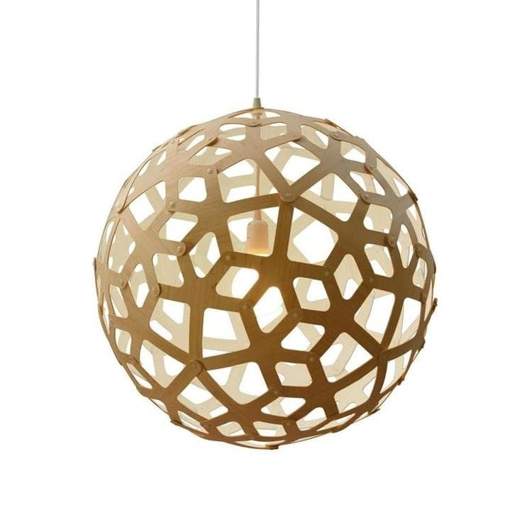 CORAL Blanc Suspension Bicolore Bois Naturel Ø60cm