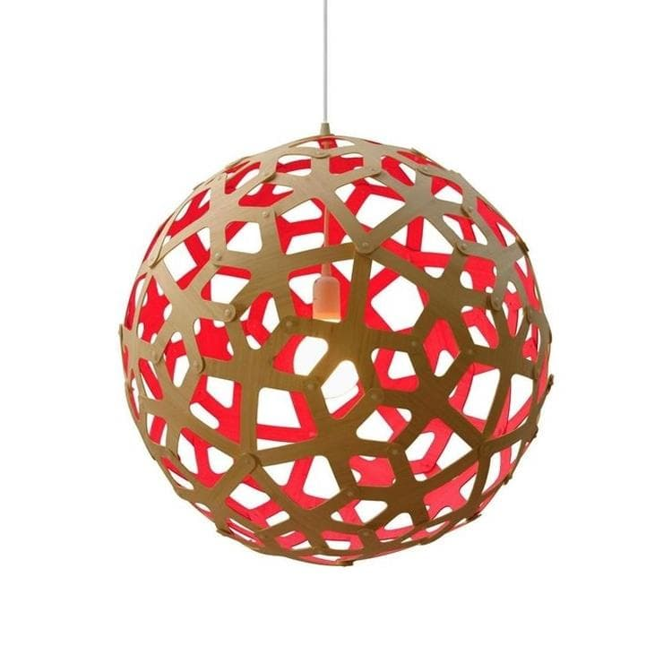 CORAL Rouge Suspension Bicolore Bois Naturel Ø60cm