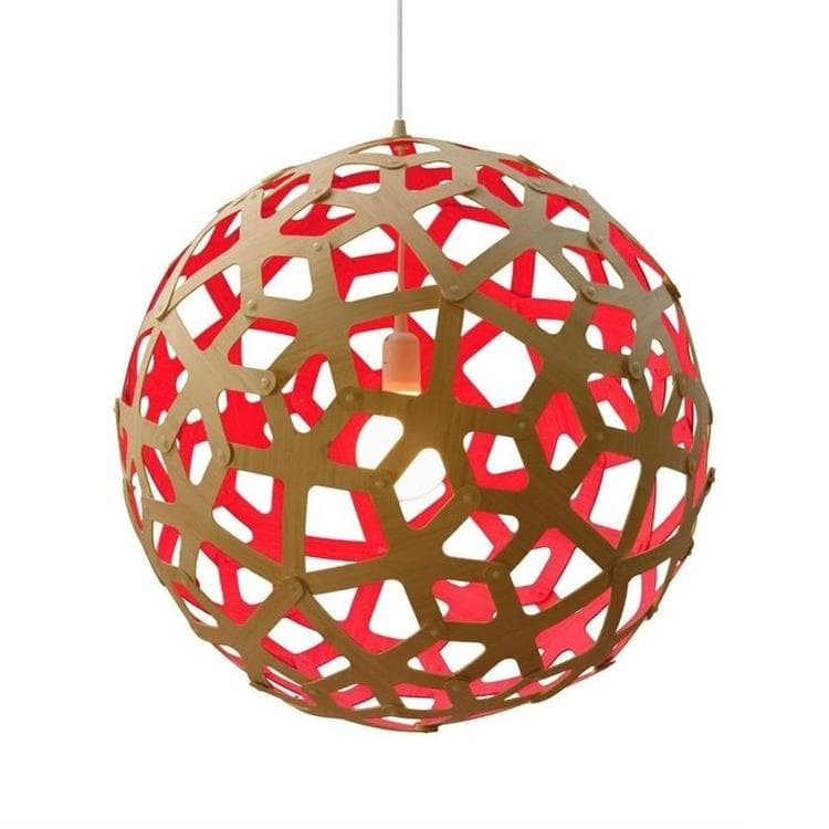 CORAL Rouge Suspension Bicolore Bois Naturel Ø80cm