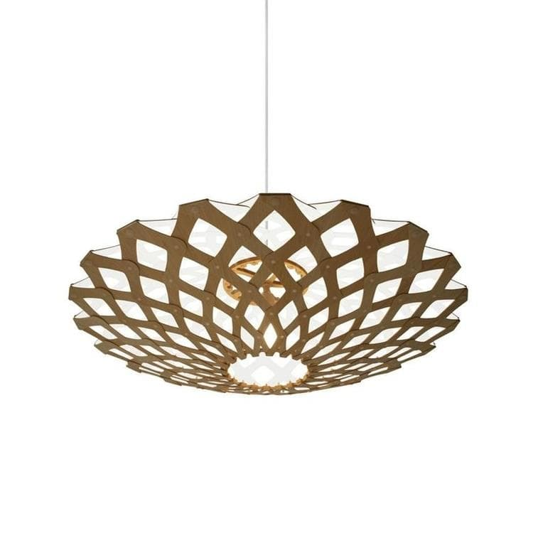 FLAX Blanc Suspension Bicolore Bois Naturel Ø80cm