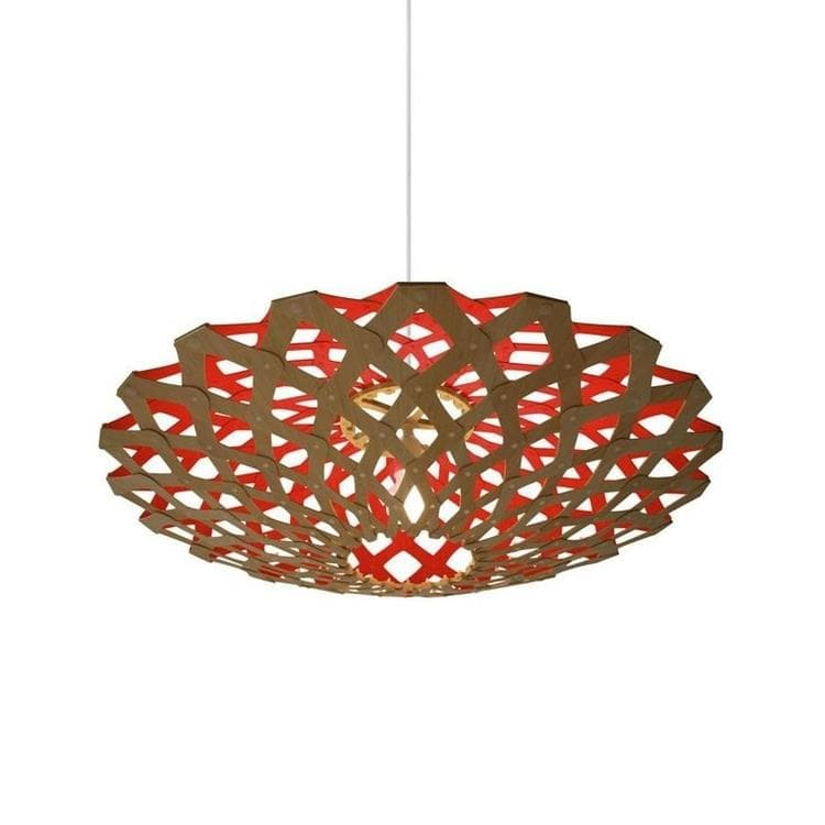 FLAX Rouge Suspension Bicolore Bois Naturel Ø80cm