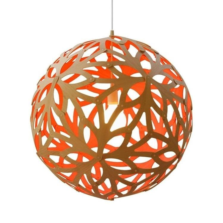 FLORAL Orange Suspension Bicolore Bois Naturel Ø80cm