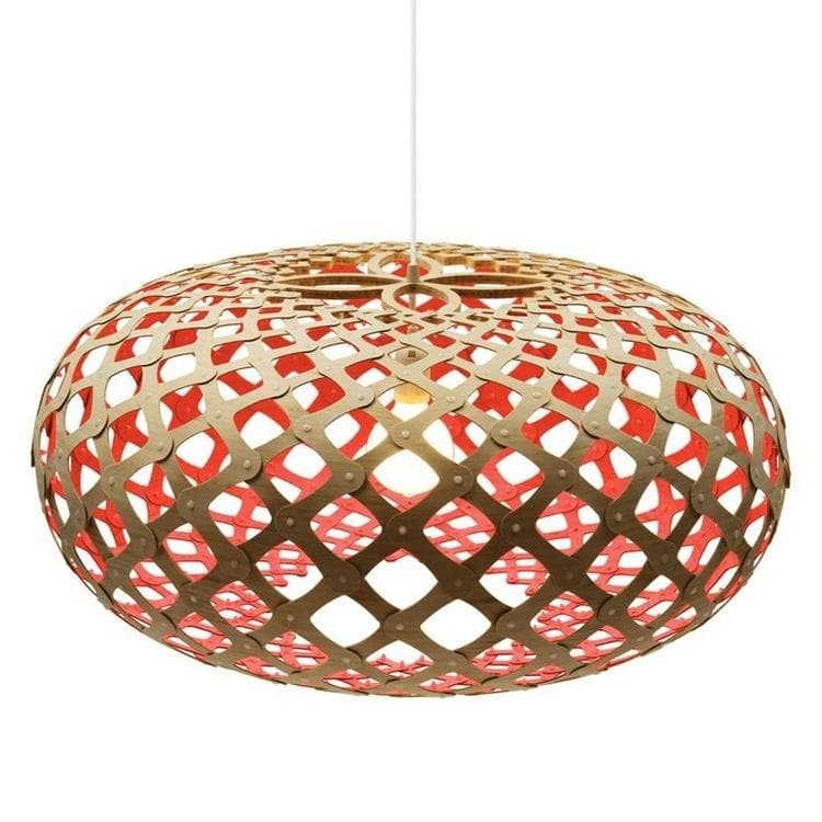 KINA Rouge Suspension Bicolore Bois Naturel Ø100cm