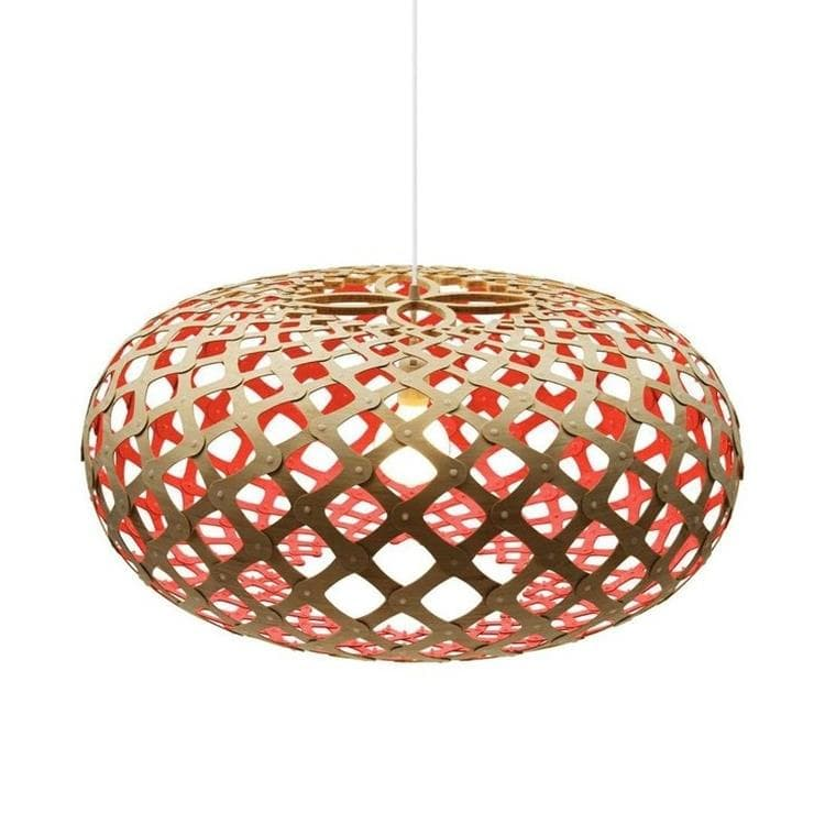 KINA Rouge Suspension Bicolore Bois Naturel Ø80cm
