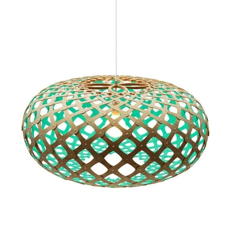 KINA turquoise Suspension Bicolore Bois Naturel Ø80cm
