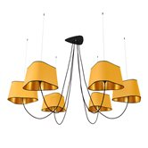 Suspension DesignHeure GRAND NUAGE - Lustre 6 Lumières Jaune/Or Ø203cm