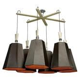 Suspension DesignHeure LUXIOLE - Lustre 6 Lumières Marron/Orange L145cm