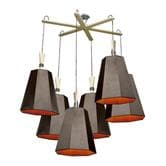 Suspension DesignHeure LUXIOLE - Lustre 6 Lumières Marron/Orange Asymétrique L145cm