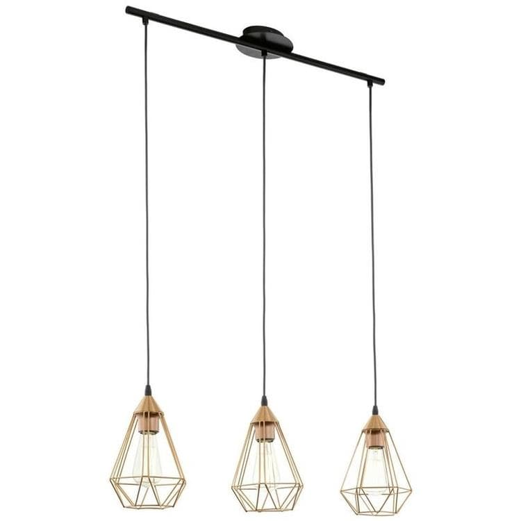 suspension 3 lumi res m tal noir cuivre l79cm tarbes suspension eglo design lampes design. Black Bedroom Furniture Sets. Home Design Ideas