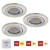 Spot Eglo TEDO - Kit 3 Spots LED encastrables et orientables Nickel Mat Ø8cm 38° 3 intensités