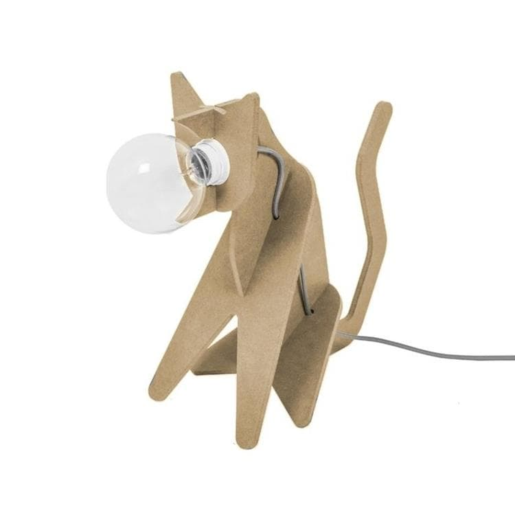 GET OUT Bois Lampe à poser Chat H35cm
