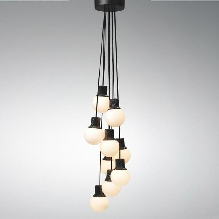 MASS LIGHT - Suspension Marbre 9 lumières Ø37cm & Tradition
