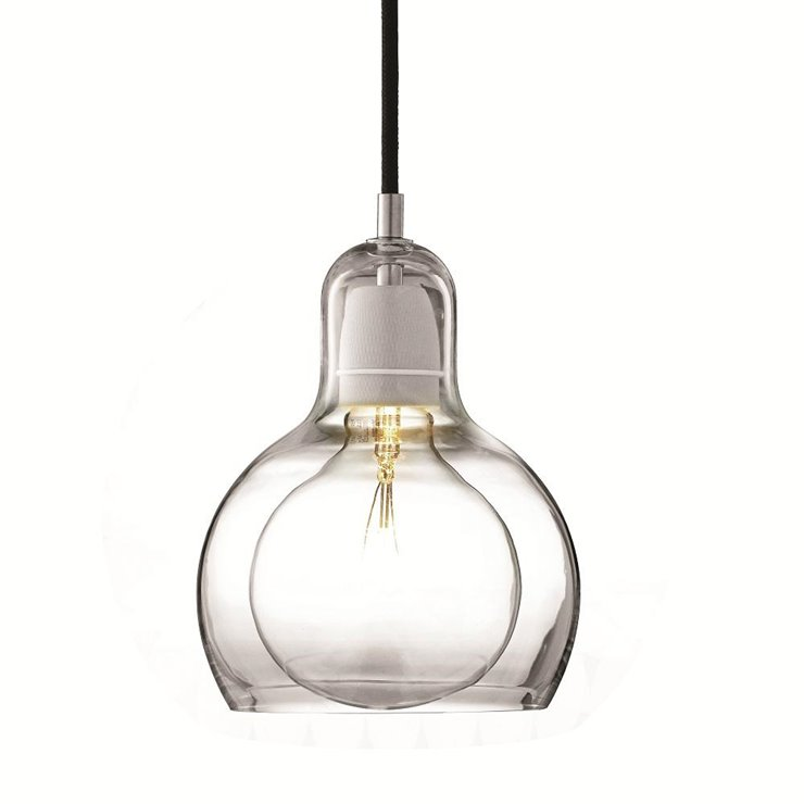 MEGA BULB SR2 transparent fil noir Suspension Verre Ø18cm