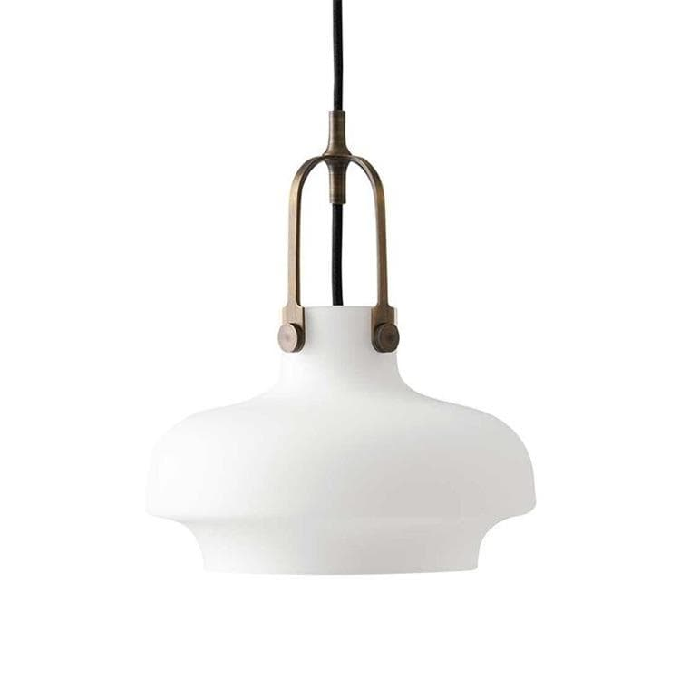 COPENHAGEN blanc opalin Suspension Bronze/Verre Ø20cm