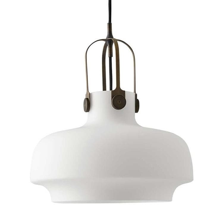 COPENHAGEN blanc opalin Suspension Bronze/Verre Ø35cm