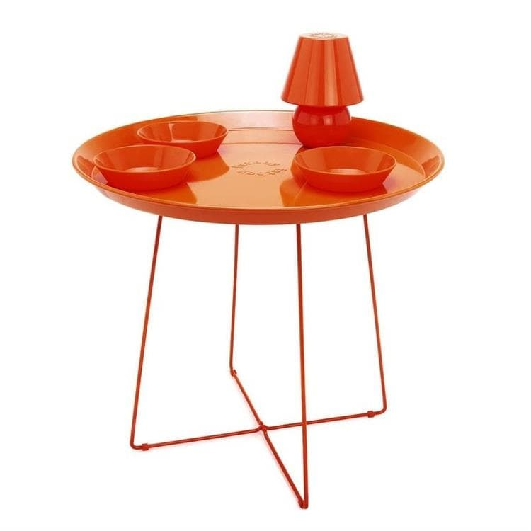 SNACKLIGHT Orange Table basse avec plateau 3 coupelles et lampe LED H59cm