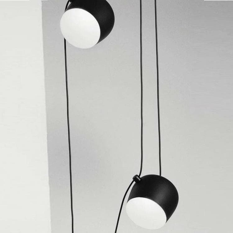 AIM Noir Suspension 2 lumières LED Aluminium Ø24cm