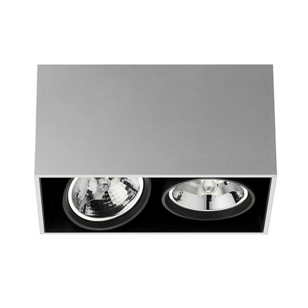 Spot FLOS - Compass Box 2 - Plafonnier Double Spot Argent 17x16cm (photo)