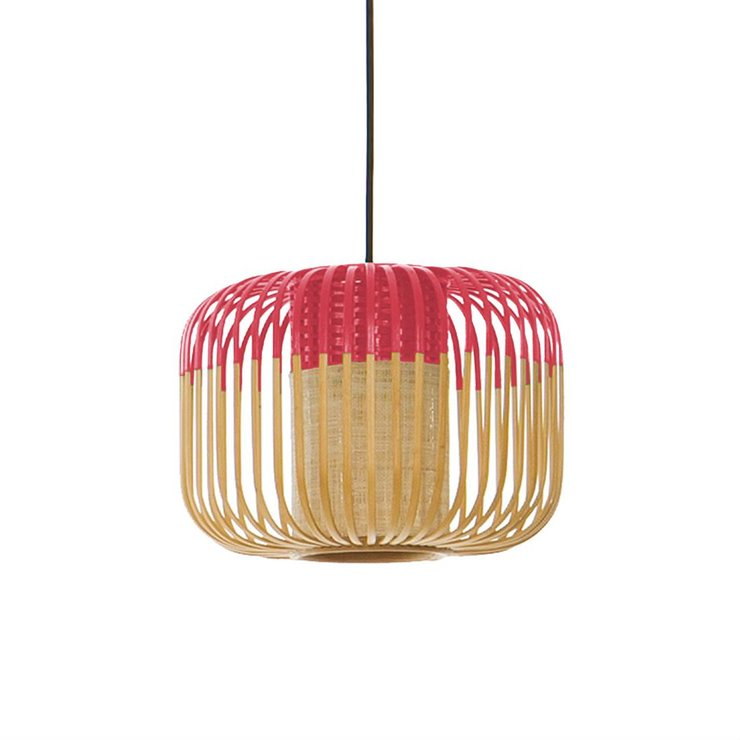 BAMBOO XS Rouge Suspension Bambou Ø27cm H20cm