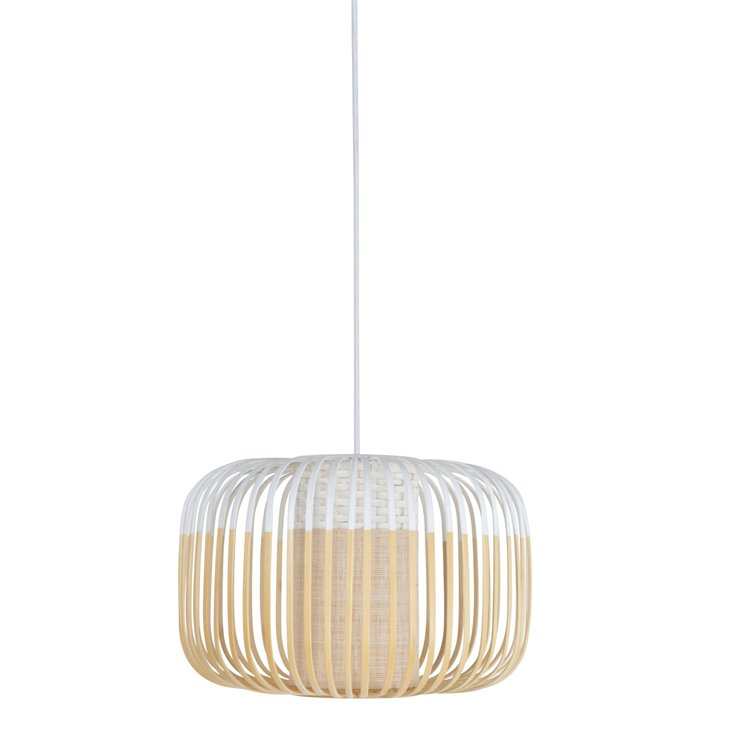 BAMBOO S Blanc Suspension Bambou Ø35cm H23cm