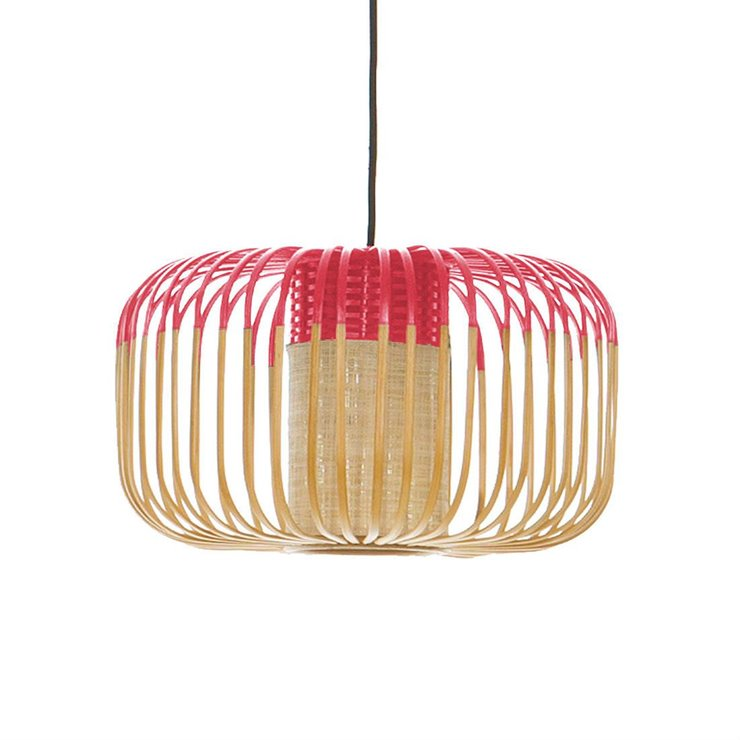 BAMBOO S Rouge Suspension Bambou Ø35cm H23cm