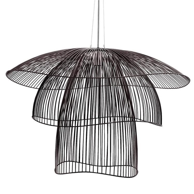 suspension fil de fer noir 100cm papillon suspension forestier elise fouin design lampes. Black Bedroom Furniture Sets. Home Design Ideas