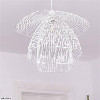 PAPILLON : Suspension Métal Filaire Ø56cm (Blanc)