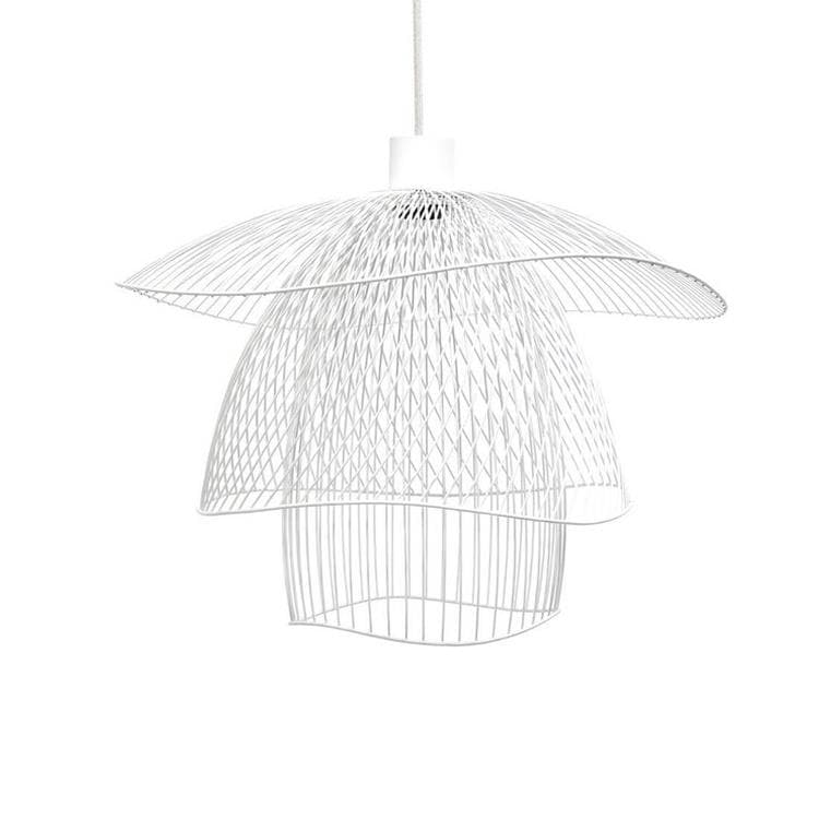 PAPILLON Blanc Suspension Métal Filaire Ø56cm