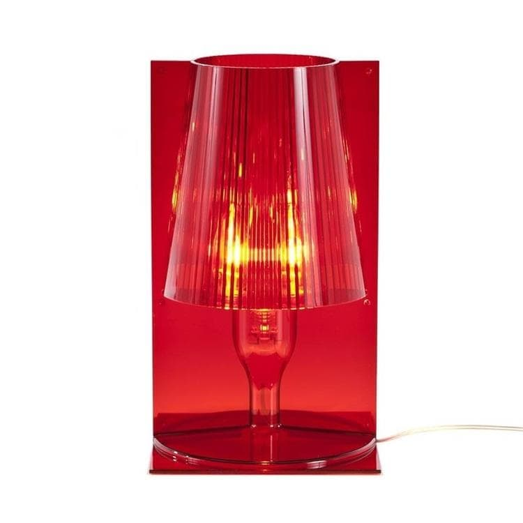 lampe poser rouge translucide h30cm take lampe poser kartell ferruccio laviani design. Black Bedroom Furniture Sets. Home Design Ideas