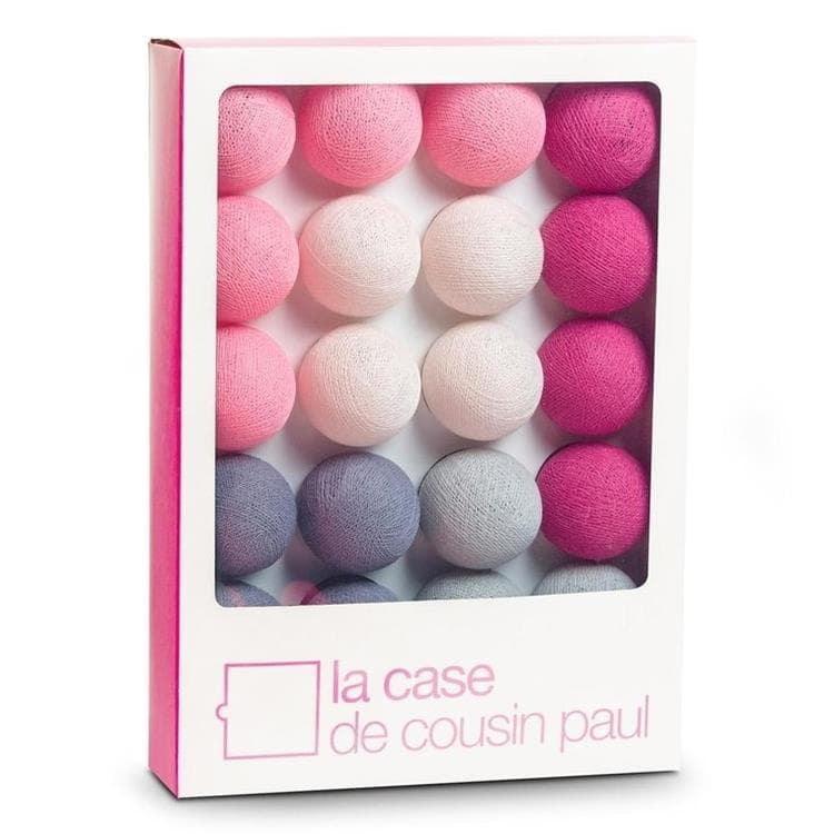 Coffret guirlande lumineuse l 39 original rose gris 2 9m - Guirlande la case du cousin paul ...