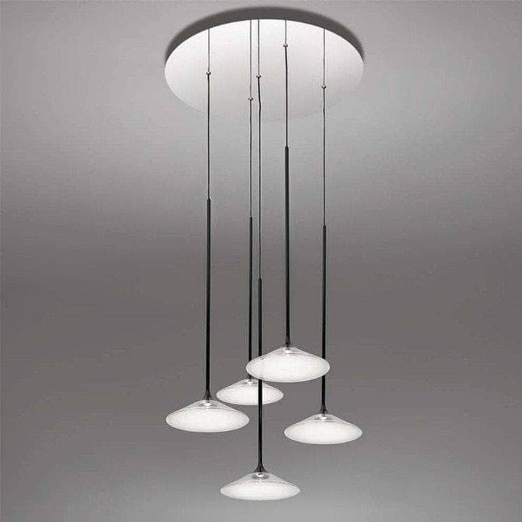 ORSA Transparent Suspension LED 5 Lumières Verre Ø57cm